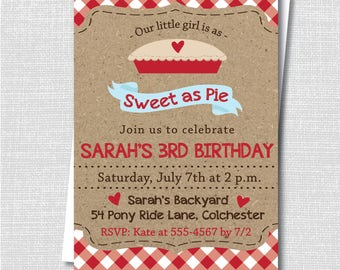 Sweet as Pie Birthday Invitation - Classic Pie/Baking Themed Party - Digital Design or Printed Invitations - FREE SHIPPING