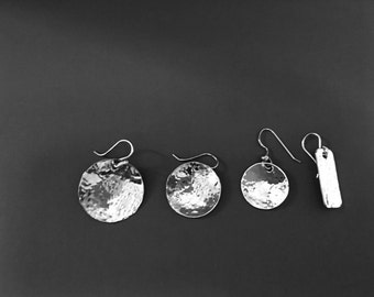 Argentium Sterling Silver Disc Earrings- Hammered and polished - Offering 4 sizes.