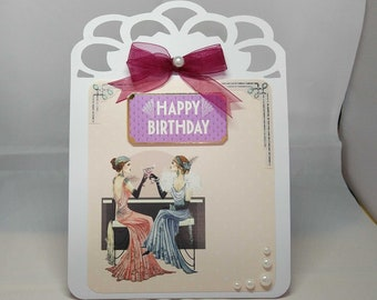 Female Art Deco Easel Birthday Card - luxury personalised unique custom UK - Mum/Grandma/Daughter/Aunt/Niece/Sister