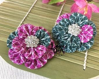 Tem - lila - grau - Blumen - Brosche - Pin - Handmade - Hand-genäht - Diamante Zentrum - leicht und einfach um zu tragen - Unikat
