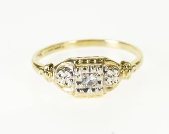 14k Retro Diamond Inset Square Scallop Engagement Ring Gold