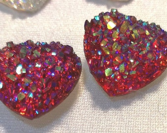 glittered button Hearts earrings.