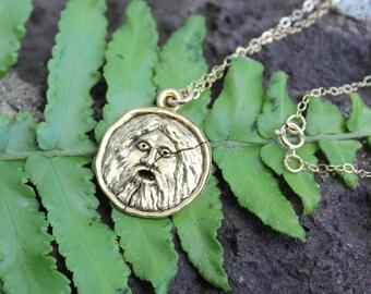 Bocca Della Verita Gold Necklace - Ancient Roman symbol charm - Roman Holiday - Ancient Rome -  free shipping USA