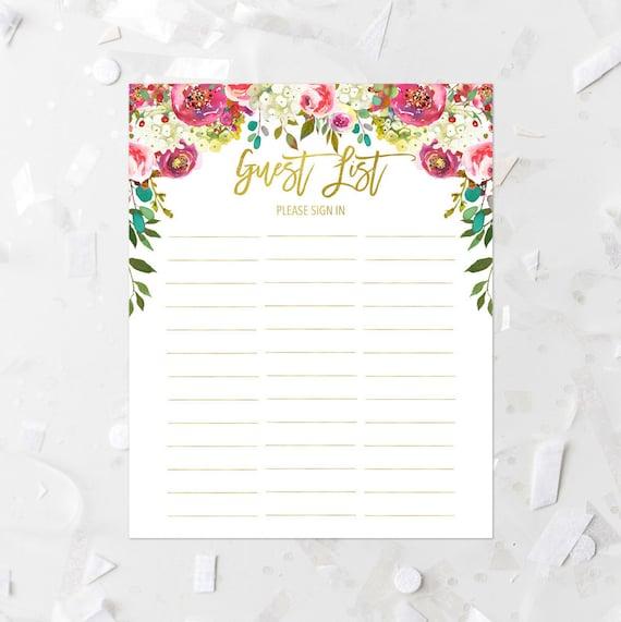 guest list printable