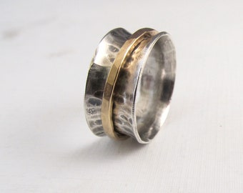 Spinner ring, silver and gold spinning ring