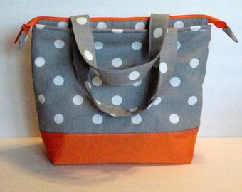 Lunch Bag Adult Lunch Bag Insulated Womens Lunch Bag Large Zipper Top Inside. Pockets Grey Polka Dot Choose Your Color Choose Your Size