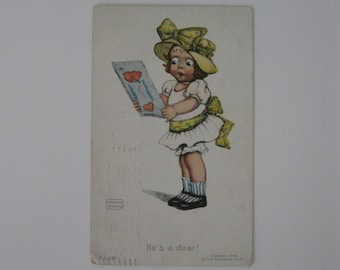 K Gassaway - Artist Signed Post Card - He's a Dear! - FL #185 - Used - 1906