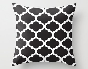 Moroccan Pattern pillow with insert  - Black and White - Modern Home Decor - By Aldari Home