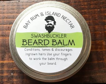 Swashbuckler Handmade Beard Balm Conditioner Tamer 3oz. Tin Bay Rum & Island Nectar