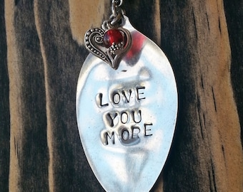 Love you more necklace stamped spoon necklace,  heart charm, silverware pendant, stamped silverware with crystals