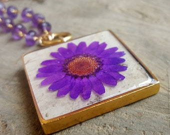 Real Daisy Necklace - Real Pressed Flower Necklace - Nature Jewelry - Purple Daisy and Birch Bark with Amethyst Beads