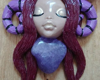Maroon and Purple Ram Goddess Polymer Clay Pendant Necklace.