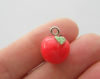BULK 20 Red apple charms resin FD291