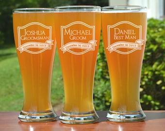 Groomsmen Gift, 15 Personalized Beer Glasses, Custom Engraved Pilsner Glass, Wedding Party Gifts, Gifts for Groomsmen, 16oz Glasses