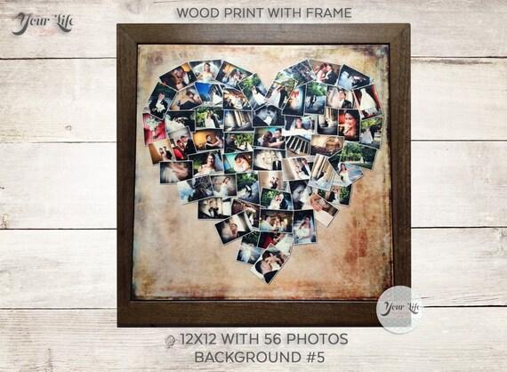 Five Year Wedding Gift: WOOD PRINT Heart Collage Five Year Anniversary Gift Wedding