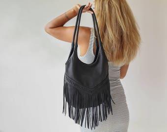 Black Leather Fringe Tassel Bag, Leather Fringe Bag, Leather Hobo Bag, fringe hobo bags, Black Leather Shoulder Bag