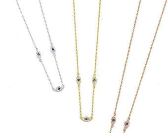 dainty petite triple marquese evil eye charm necklace, 3 colors, white and blue zircons  925 sterling silver