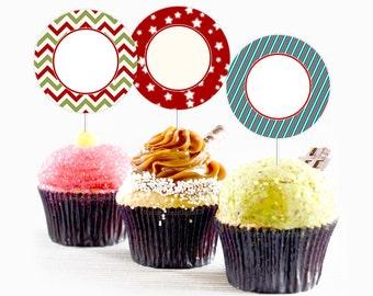 Christmas party printables Printable cake topper Christmas cake topper Christmas cupcake topper Digital Christmas printable Commercial use