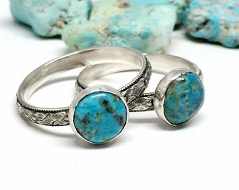 Arizona Turquoise Ring - Blue Gemstone Ring - Sterling Silver Stackable Ring - Diamond Floral Band - Turquoise ring for Women