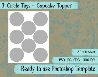 """Scrapbook Digital Collage Photoshop Template, 3""""  Tags, Cupcake Toppers"""