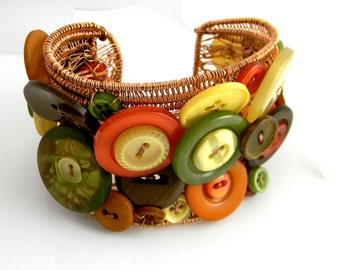 Autumnal Splendor Recycled Vintage Buttons & Copper Wire Sculpted Cuff Bracelet Statement Piece