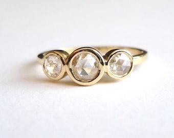 Rose Cut Diamond 3 Stone Ring, Engagement Ring, Wedding Band, 14K Yellow Gold