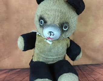 "Mid Century 24"" Black and White Plush Teddy Bear//Panda Stuffed Animal//Creepy Haunted Photo Prop"