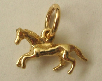 Genuine SOLID 9K 9ct YELLOW GOLD 3D Horse Animal charm/pendant