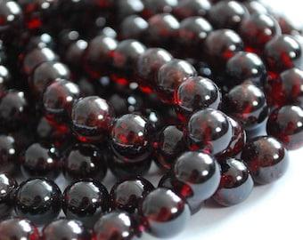 "High Quality Grade A Natural Garnet Semi-precious Gemstone Round Beads - 4mm, 6mm, 8mm, 10mm, 12mm sizes - Approx 16"" strand"