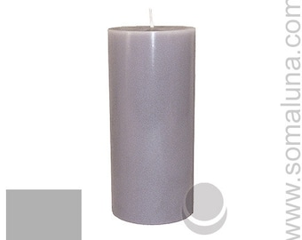 3 x 6.5 Silver Gray Classic Hand-poured Unscented Pillar Candles Solid Color