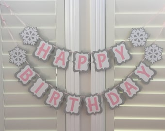 Winter Wonderland Happy Birthday Banner, Snowflake Banner, Newborn to 12 month Banner