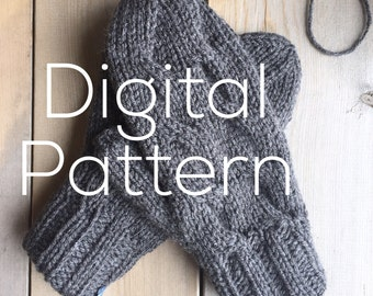 Mitten Pattern - Worsted Weight Yarn  with Cable