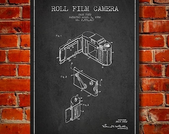 1952 Film Camera Patent, Canvas Print, Wall Art, Home Decor, Gift Idea