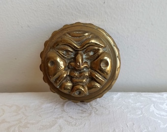 Vintage Brass Box Sun Face Round Hand Cast With Patina, Celestial Zodiac Sign By Bomel Collection, Bohemian Hippie