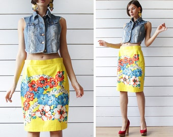 ESCADA vintage yellow floral print cotton high waist fitted pencil knee length midi skirt S M