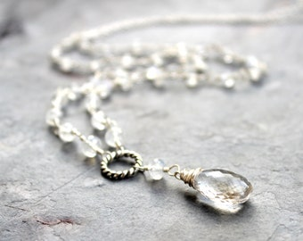 Moonstone Necklace Sterling Silver Crystal Quartz Long White Rainbow Moonstone Y Strand June Birthstone