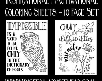 Motivational Coloring Sheet Pack - Inspirational Quotes - Nature Coloring - Gifts for Students - Entrepreneur Gifts - 10 Pages