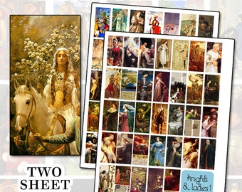 Knights and Ladies Two Sheet Set Digital Collage Sheet Set 1x2 inch 25mm x 50mm