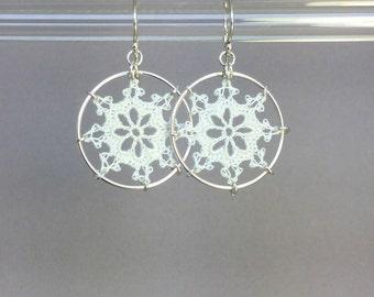 Nautical doily earrings, white silk thread, sterling silver