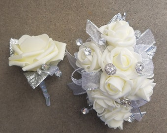 Prom Corsage and Boutonniere Set / Prom Flowers