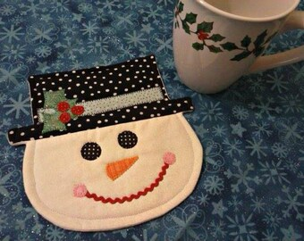 NEW - Snowman Mug Rug - Mug Rug - Coasters