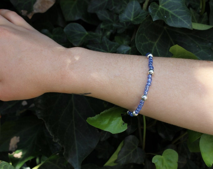 Blue and silver beaded bracelet.