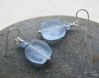 Periwinkle Leaf Glass Earrings - Vintage Cornflower Blue Glass Beads