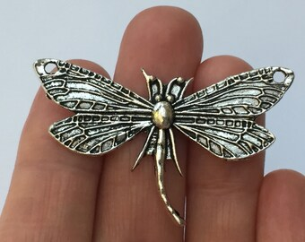 4 Dragonfly Charms Antique Silver 49 x 31mm - SC722
