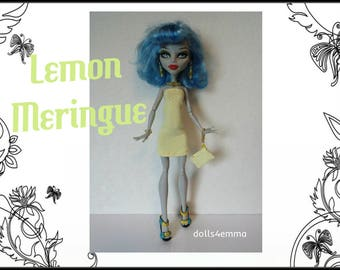 Monster High Doll Clothes - LEMON MERINGUE Dress, Purse and Jewelry Set - Handmade Fashion by dolls4emma