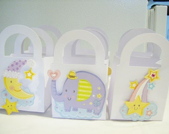 12 Baby shower favour boxes - pastel birthday party favours - kid's party favours - baby shower treat boxes - unisex baby goody boxes