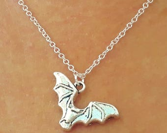 Bat Necklace - Silver Bat Necklace - Gothic Necklace - Animal Necklace - Goth Jewelry - Bat Jewelry - 2 Sizes Available