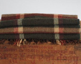 Vintage Plaid Scarf Shawl Wool Brown Green Classic by Park Lane Warm Gentle Soft
