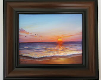 Original 8x10 Ocean Sunset, Seascape Painting on Canvas by J. Mandrick - FRAMED