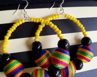 Multi color hoop earrings/Yellow beaded earrings/Colorful cloth ball earrings/Ethnic